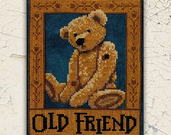 PRE-Order, Counted Cross Stitch Pattern, Old Friend, Teddy Bear, Folk Art, Country Decor, Primitive Decor, Teresa Kogut, PATTERN ONLY