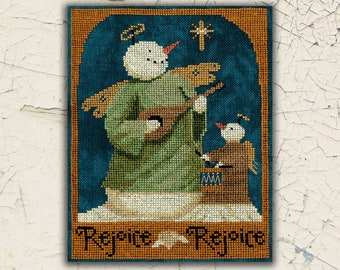 Counted Cross Stitch Pattern, Rejoice, Rejoice Snowmen, Christmas Decor, Snowmen, Primitive Decor, Teresa Kogut, PATTERN ONLY