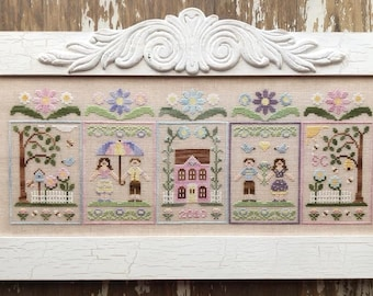Counted Cross Stitch, Spring Social, Cross Stitch Patterns, Easter, Spring Decor, April Showers, Country Cottage Needleworks, PATTERN ONLY