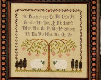 Counted Cross Stitch, Gentle Lamb Sampler, Farmhouse Decor, Sheep, Weeping Willow, Cottage Decor, Elizabeth's Designs, PATTERN ONLY