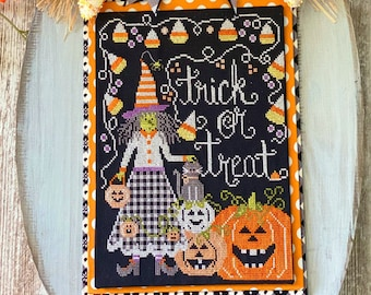 Counted Cross Stitch Pattern, Trick or Treat, Halloween Witch, Candy Corn, Pumpkins, Stitching with the Housewives, PATTERN ONLY