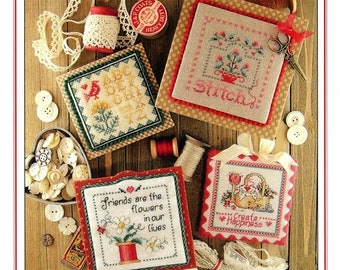 Counted Cross Stitch Pattern, Keepsakes, Book 2, Create Happiness, Friends, Sampler Bird, Keepsake Squares, Sue Hillis Designs, PATTERN ONLY