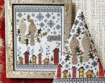 Counted Cross Stitch, Second Day of Christmas, Turtle Dove, Christmas Sampler, Christmas Tree, Christmas Ornament, Liz Mathews, PATTERN ONLY