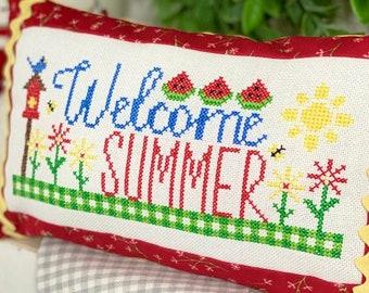 Counted Cross Stitch Pattern, Welcome Summer, Summer Decor, Watermelon, Garden Decor, Primrose Cottage Stitches, PATTERN ONLY