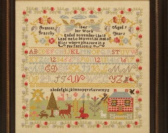 Counted Cross Stitch Pattern, Frances Grassby 1845, Reproduction Sampler, Floral Motifs, Primitive Decor, Hands Across the Sea, PATTERN ONLY