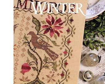Counted Cross Stitch Pattern, Loose Feathers Winter, Winter Decor, Birds, Flowers, Blooms, Room Decor, Blackbird Designs, PATTERN ONLY