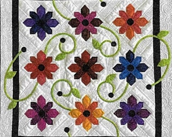 Quilt Pattern, Black Eyed Susan, Pieced Quilt, Appliqued Quilt, Wall Hanging, Table Topper, Flowers, Berries, Jillily Studio, PATTERN ONLY
