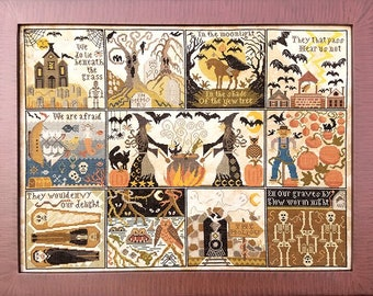 Counted Cross Stitch Pattern, Halloween at Hawk Run Hollow, Halloween Decor, Witches, Carriage House Samplings, PATTERN ONLY