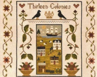Counted Cross Stitch Pattern, Thirteen Colonies, Americana, Patriotic Decor, Saltbox Houses, Little House Needleworks, PATTERN ONLY