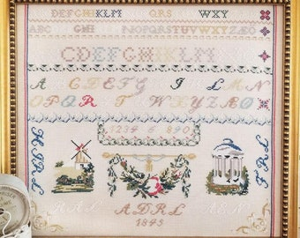 Counted Cross Stitch, Red R Sampler, Reproduction Sampler, Antiqued Reproduction, Windmill, Hello from Liz Mathews, PATTERN ONLY