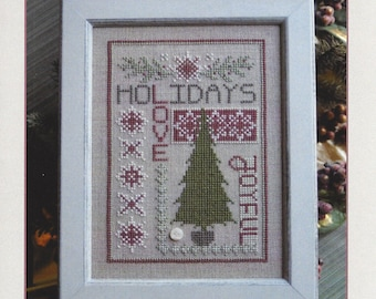 Counted Cross Stitch, Holiday Thoughts, Winter Decor, Holiday Decor, Evergreen Tree, Snowflakes, AnnaLee Waite Designs, PATTERN ONLY
