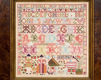 Counted Cross Stitch Pattern, The Alexanders of Lintrathen 1829, Reproduction Sampler, Antique Repro, Hands Across the Sea, PATTERN ONLY