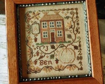 Counted Cross Stitch Pattern, Pumpkin Farm, Fall Decor, Primitive Decor, Colonial Decor, White Pumpkin, Blackbird Designs, PATTERN ONLY