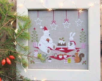 Counted Cross Stitch Pattern, Christmas Breakfast, Christmas Decor, Polar Bear, Bunny Rabbit, Squirrel, Madame Chantilly, PATTERN ONLY