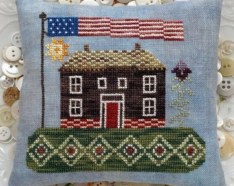 Counted Cross Stitch Pattern, My Summer House, Patriotic, Summer Decor, Americana Decor, Primitive, Lucy Beam, Rebecca Noland, PATTERN ONLY