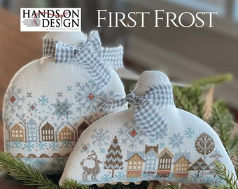 PRE-Order, Cross Stitch Pattern, First Frost, Snowman, Row Houses, Snowflakes, Winter Decor, Farmhouse Decor, Hands On Design, PATTERN ONLY