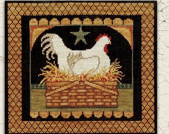 Counted Cross Stitch Pattern, Prim Hen in Basket, Nesting Hen, Basket, Country Decor, Chicken, Primitive Decor, Teresa Kogut, PATTERN ONLY