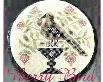 Counted Cross Stitch Pattern, Berry Bird, Cross Stitch Pattern, Strawberries, Primitive Decor, Flower Urn, The Scarlett House, PATTERN ONLY