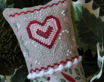 Counted Cross Stitch Pattern, Little Winter Fling, February, Heart Design, Rosebud Heart Flowers, Bowl Filler, Luhu Stitches, PATTERN ONLY