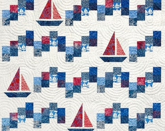 Quilt Pattern, Sailing School, Summer Decor, Beach Decor, Patchwork Quilt, Wall Hanging, Lap Quilt, Canuck Quilter Designs, PATTERN ONLY