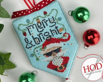 Counted Cross Stitch Pattern, Merry & Bright, Secret Santa, Christmas Decor, Santa Claus, Christmas Ornament, Hands On Design, PATTERN ONLY