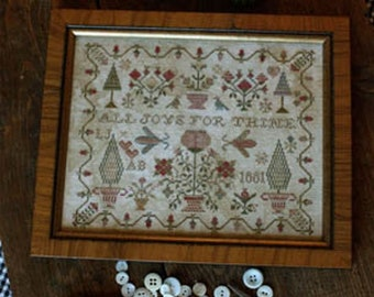 Counted Cross Stitch Pattern, All Joys for Thine, Sampler, Primitive Decor, Colonial Decor, Sampler Motifs, Blackbird Designs, PATTERN ONLY
