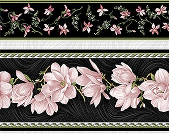 Quilt Fabric, Accent on Magnolias, Magnolia Blooms, Stripe Coral/Black, Floral Quilt Fabric, Benartex, Jackie Robinson, Animas Quilts