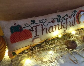 Counted Cross Stitch Pattern, Thankful, Thanksgiving, Turkey, Farmhouse Decor, Acorns, Pumpkin, Giving Thanks, Rovaris, PATTERN ONLY