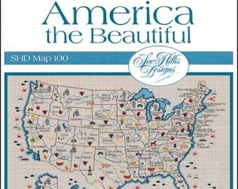 Counted Cross Stitch Pattern, America the Beautiful, United States, State Map, US Map, Geographical Map, Sue Hillis Designs, PATTERN ONLY
