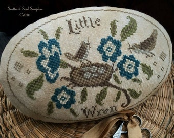 Counted Cross Stitch Pattern, Out on a Limb, Primitive Pinkeep, Little Wren, Birds, Blooms, Primitive, Scattered Seed Samplers, PATTERN ONLY