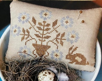 Counted Cross Stitch Pattern, Spring Flowers Pinkeep, Primitive Pillow, Colonial Decor, Pincushion Pillow, Stacy Nash, PATTERN ONLY