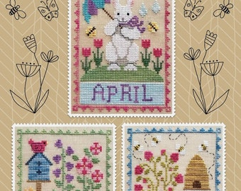 Counted Cross Stitch Pattern, Monthly Trios, April, Easter Bunny, May, Flowers, June, Bee Skep, Waxing Moon Designs, PATTERN ONLY