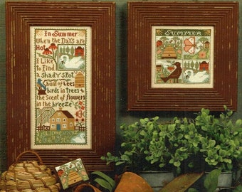 Counted Cross Stitch, Summer Breeze, Sampler, Ornaments, Country Rustic Decor, Beehive, Flowers, Birds,  The Prairie Schooler, PATTERN ONLY