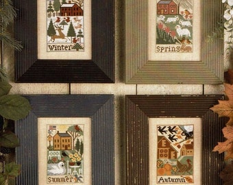 Counted Cross Stitch, Country Seasons, Winter, Spring, Summer, Fall, Sheep, Pumpkins, Patriotic Decor, The Prairie Schooler,  PATTERN ONLY