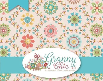 "Granny Chic, Quilt Fabric, Floral Fabric, Cotton Fabric, 5"" Charm Squares, Quilter Cotton, Riley Blake Charms, Lori Holt, Bee in My Bonnet"