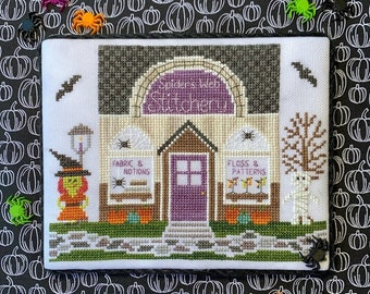 Counted Cross Stitch, Stitchery , Spooky Hollow Series, Halloween Decor, Witch, Bats, Mummy, Cottage Chic, Little Stitch Girl, PATTERN ONLY