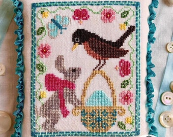 Counted Cross Stitch Pattern, A Robin's Discovery, Spring Decor, Robin, Basket, Egg, Butterfly, Flowers, Luminous Fiber Arts, PATTERN ONLY
