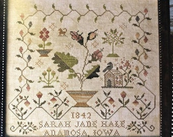 Counted Cross Stitch Pattern, My Heart Can Rest, French Sampler, Antique Reproduction, Reproduction Sampler, Blackbird Designs, PATTERN ONLY