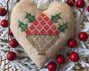 Counted Cross Stitch Pattern, Holly Berry Basket, Berry Basket, Primitive Decor, Lucy Beam, Love in Stitches, Rebecca Noland, PATTERN ONLY