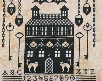 Cross Stitch Pattern, Haunted Manor House, Halloween Sampler, Keys, Locks, Bats, Cats, Manor, Karina Hittle, Artful Offerings, PATTERN ONLY