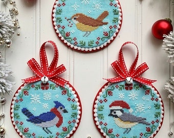 Counted Cross Stitch Pattern, Christmas Bird Trio, Christmas Decor, Blue Jay, Christmas Ornament, Holiday, Luminous Fiber Arts, PATTERN ONLY