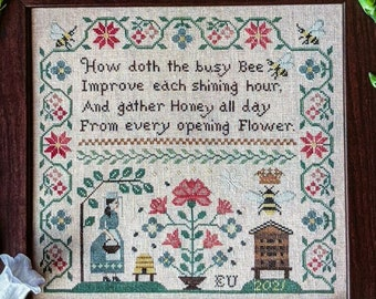 Counted Cross Stitch Pattern, Busy Bee, Sampler, Honeybees, Flower Motifs, Spring Decor, Country Rustic, Lila's Studio, PATTERN ONLY