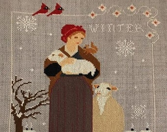Counted Cross Stitch Pattern, Winter Blessing, Winter Decor, Sheep, Bunnies, Sampler, Country Rustic, Twin Peak Primitives, PATTERN ONLY