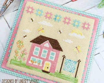 Counted Cross Stitch Pattern, Spring House, Butterflies, Bees, Flowers, Country Rustic, Spring Day, Primrose Cottage Stitches, PATTERN ONLY