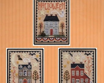 Counted Cross Stitch Pattern, Halloween House Trio, Halloween Decor, Black Cat, Bat, Jack O'Lantern, Waxing Moon Designs, PATTERN ONLY