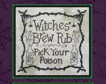 Counted Cross Stitch Pattern, Witches Brew Pub, Halloween Decor, Spiders, Poison, Witches, Skeleton, Waxing Moon Designs, PATTERN ONLY