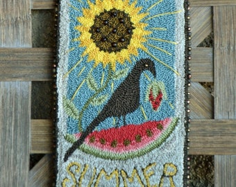 Punch Needle Pattern, Good Ole Summertime, Crow, Watermelon, Sunflower, Punch Needle Embroidery, Village Folk Art, PATTERN ONLY
