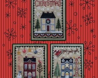 Counted Cross Stitch Pattern, Christmas House Trio, Winter Decor, Cardinals, Snowman, Snowflakes, Santa, Waxing Moon Designs, PATTERN ONLY