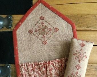 Counted Cross Stitch Pattern, Winter's Kaleidoscope, Wall Pocket, Huswife, Snowflake, Threadwork Primitives, Nan Lewis, PATTERN ONLY