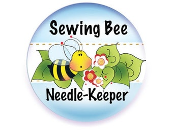 Needle Keeper, Quilted Flower, Bees, Needle Minder, Needle Nannies, Embroidery Accessory, Cross Stitch Needle Holder, Magnetic Needle Holder